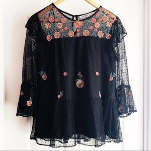 Zara Black Lace Floral Embroidered Ruffle Top
